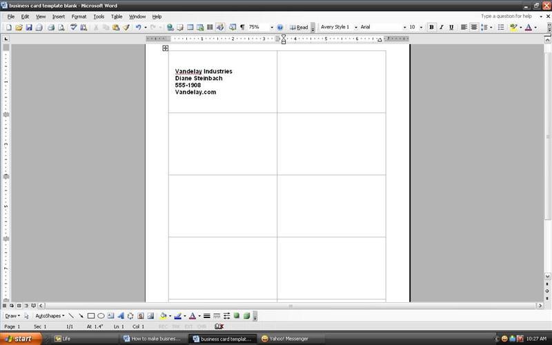 formato tarjeta de presentacion word