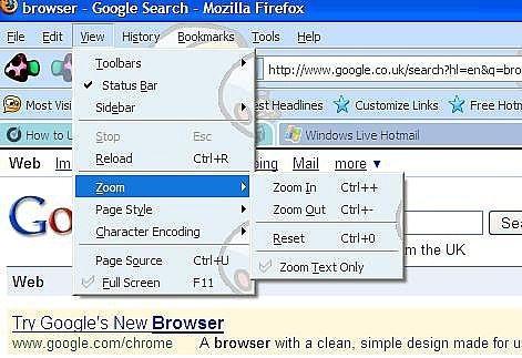 Como hacer crecer el texto en su navegador